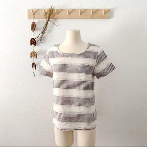 St. Tropez Striped Short Sleeve Linen Top